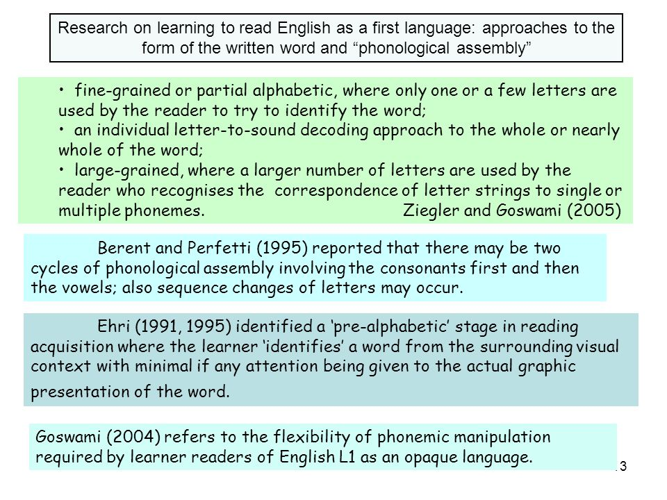Research on learning to read English as a first language: approaches to the form of the written word and phonological assembly