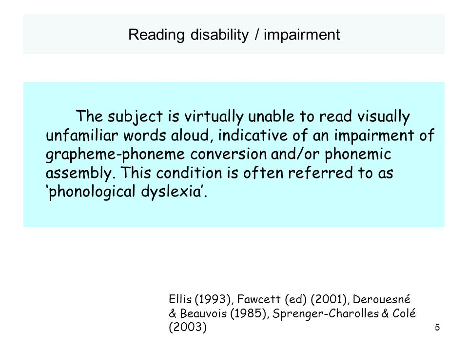 Reading disability / impairment
