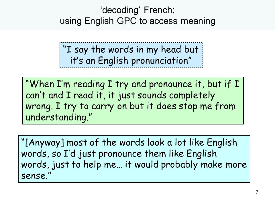 'decoding' French; using English GPC to access meaning
