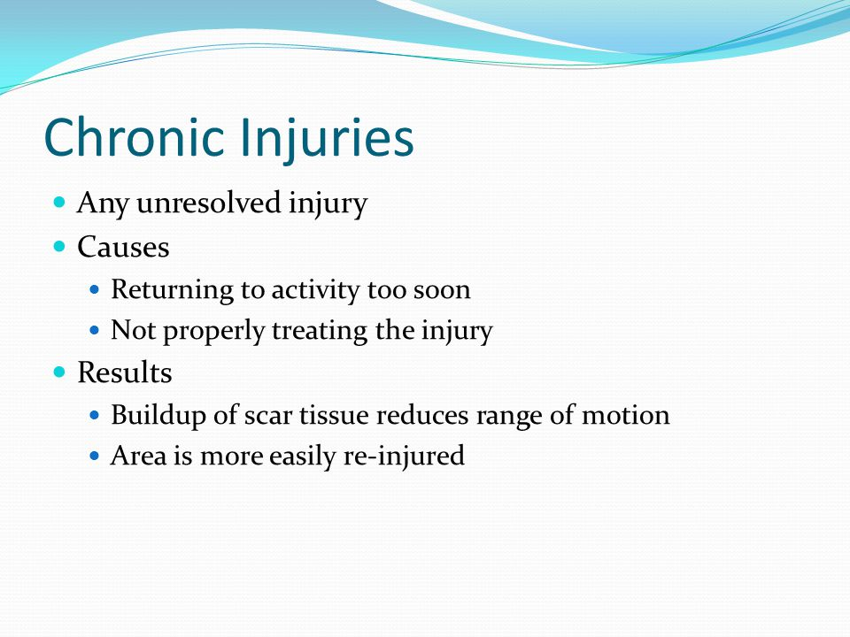Chronic Injuries Any unresolved injury Causes Results