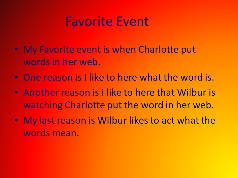 Favorite Event My Favorite event is when Charlotte put words in her web. One reason is I like to here what the word is.