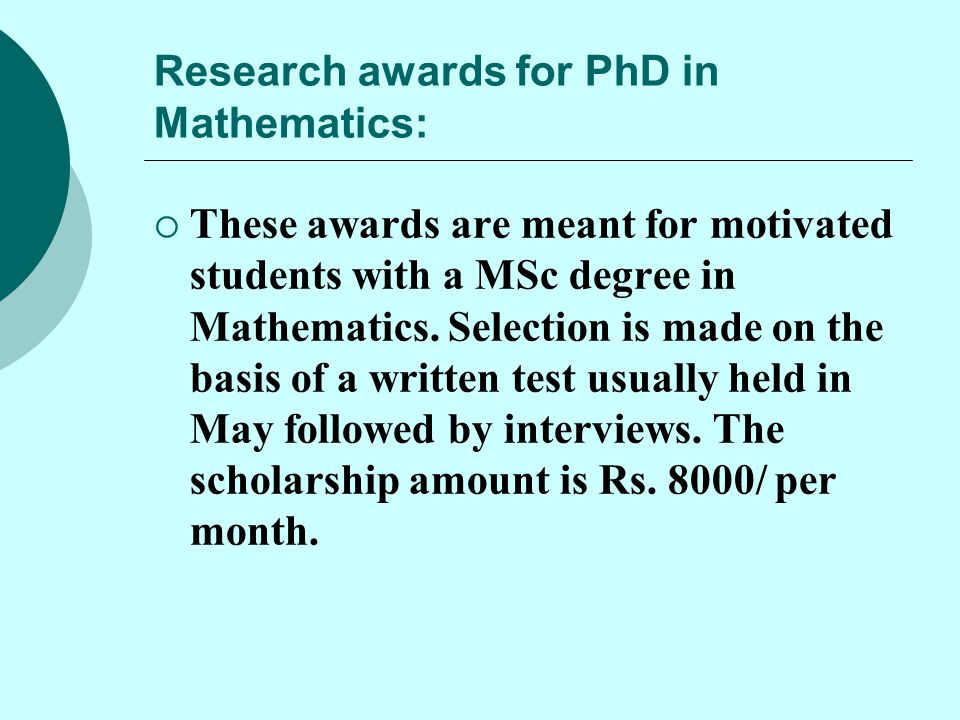 Research awards for PhD in Mathematics: