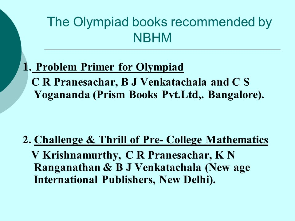 The Olympiad books recommended by NBHM