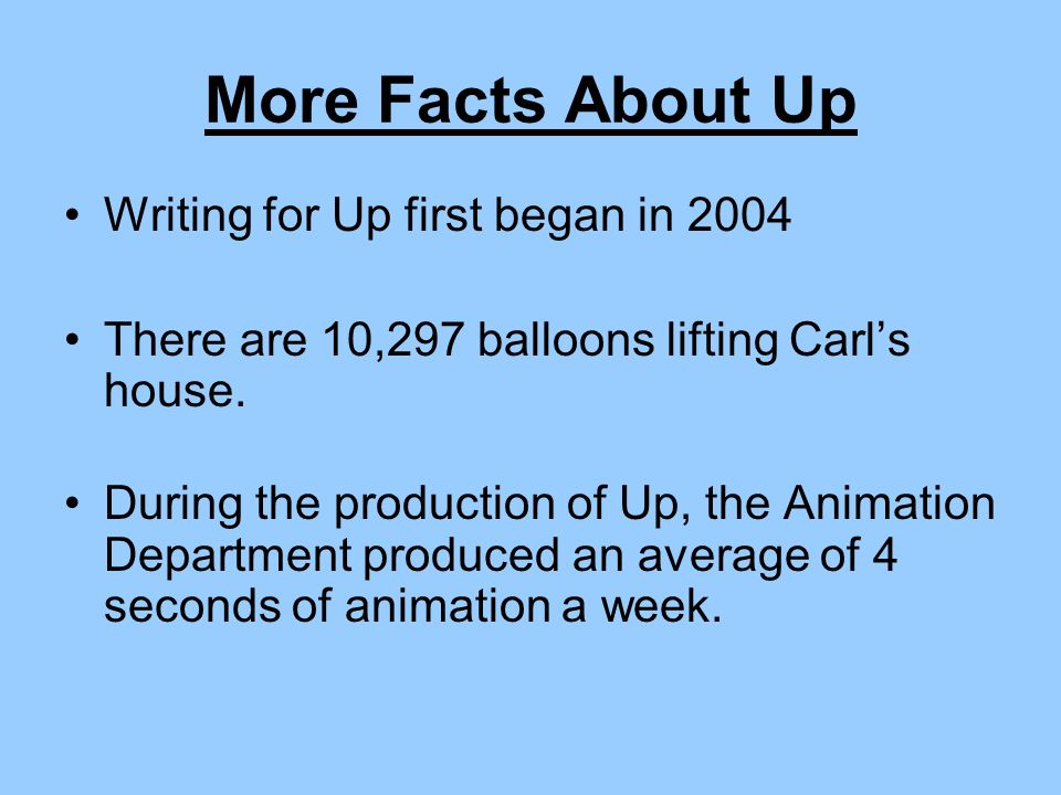 More Facts About Up Writing for Up first began in 2004