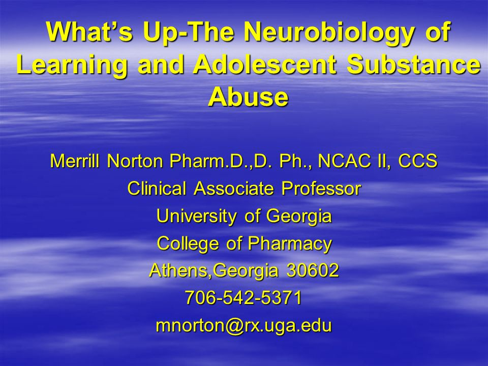 What's Up-The Neurobiology of Learning and Adolescent Substance Abuse