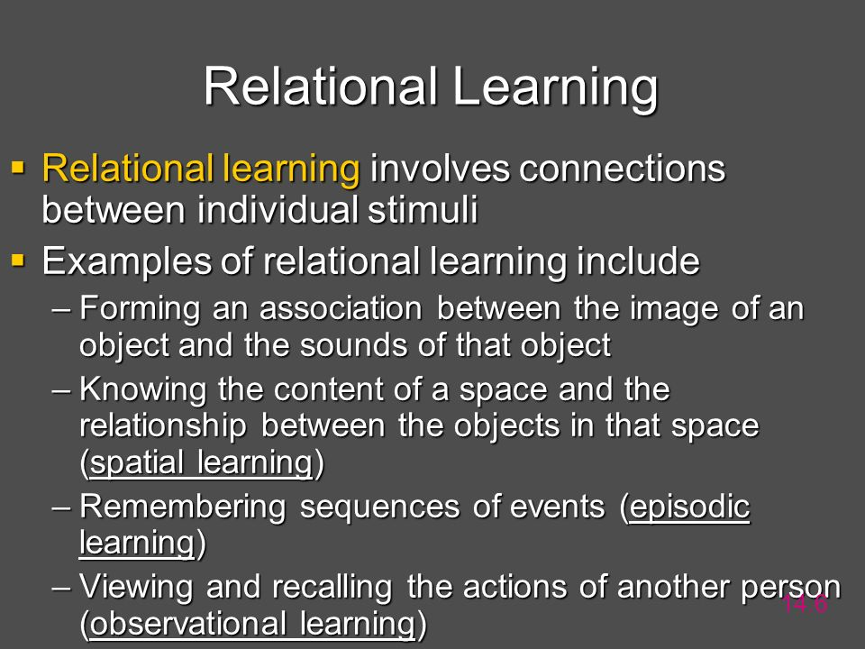 Relational Learning Relational learning involves connections between individual stimuli. Examples of relational learning include.