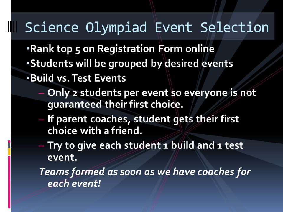 Science Olympiad Event Selection