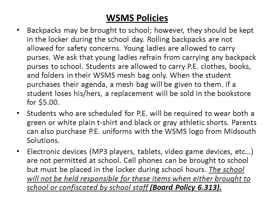 WSMS Policies
