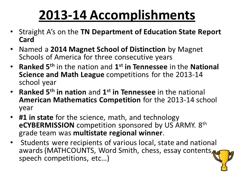2013-14 Accomplishments Straight A's on the TN Department of Education State Report Card.