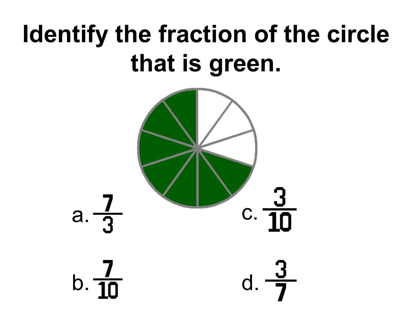 Identify the fraction of the circle that is green.