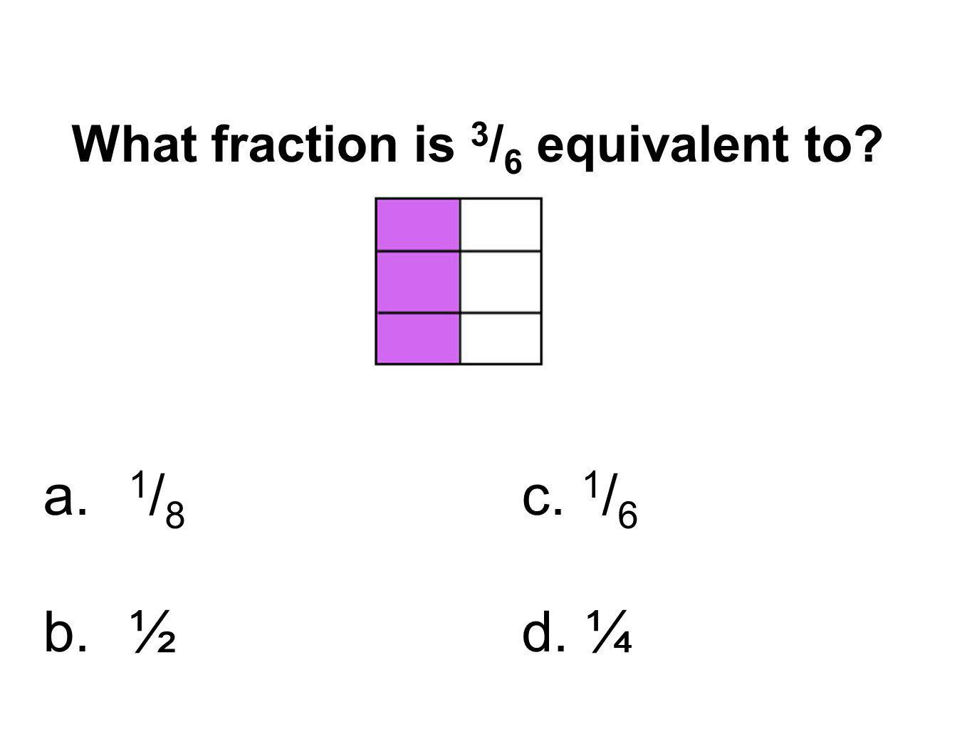 What fraction is 3/6 equivalent to