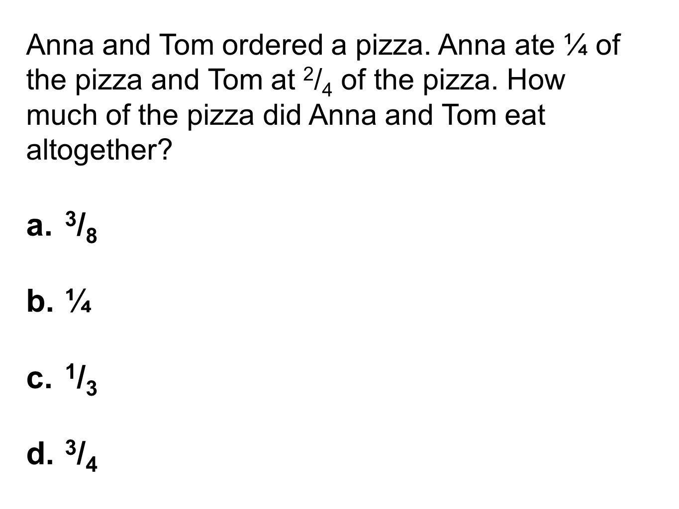 Anna and Tom ordered a pizza