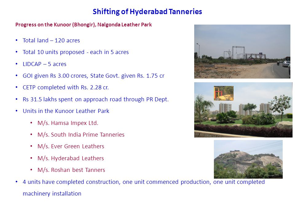 Shifting of Hyderabad Tanneries