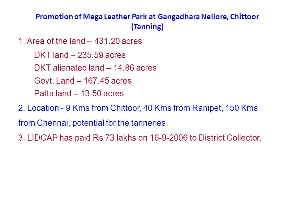 Promotion of Mega Leather Park at Gangadhara Nellore, Chittoor