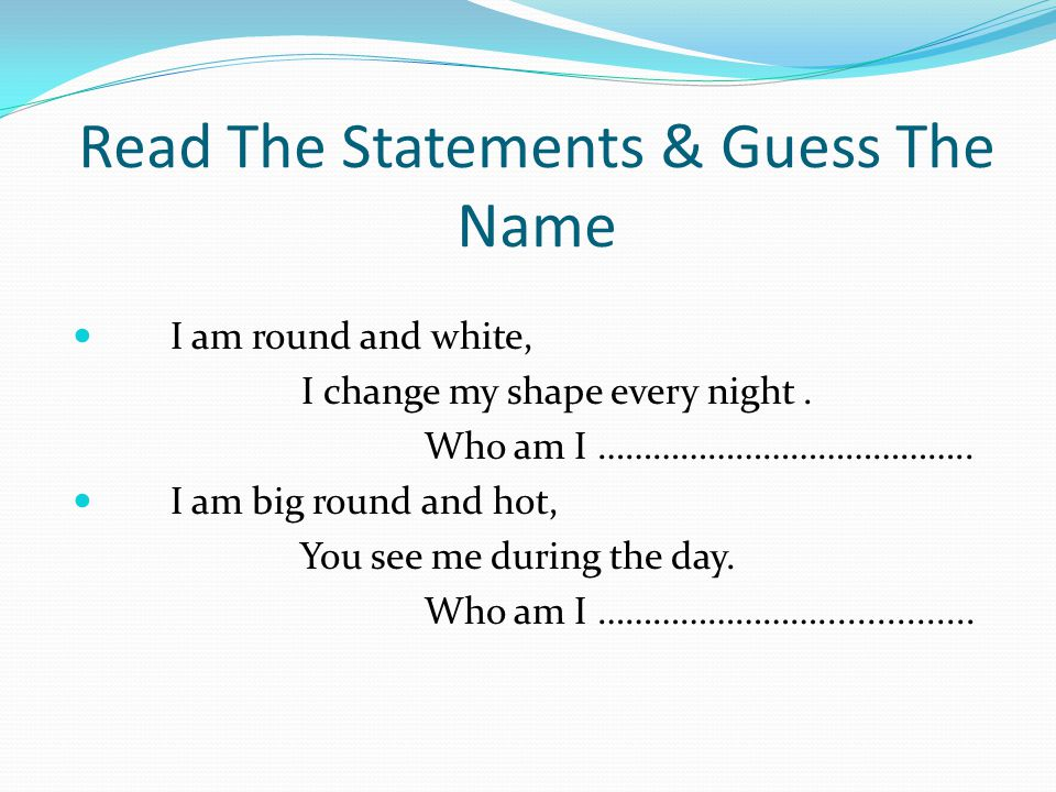 Read The Statements & Guess The Name