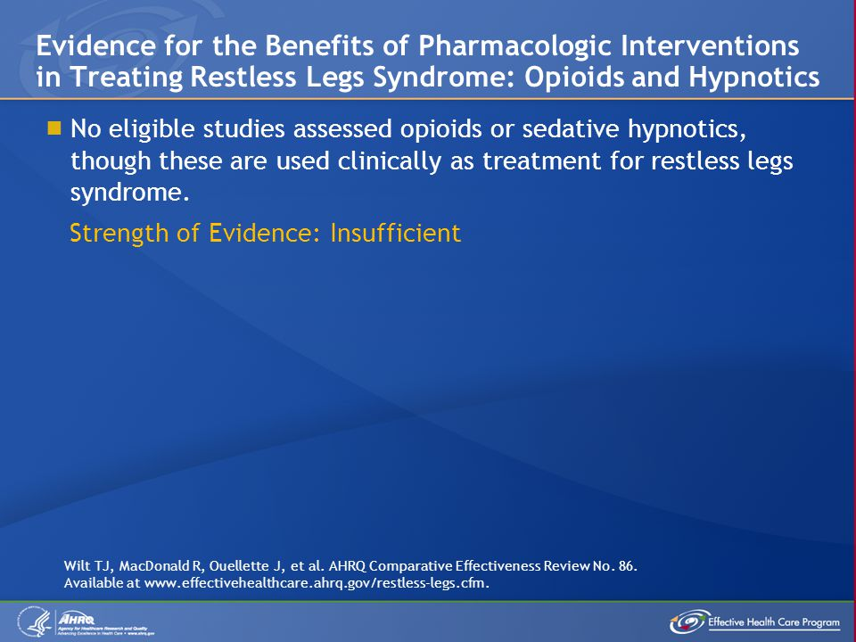 Evidence for the Benefits of Pharmacologic Interventions in Treating Restless Legs Syndrome: Opioids and Hypnotics