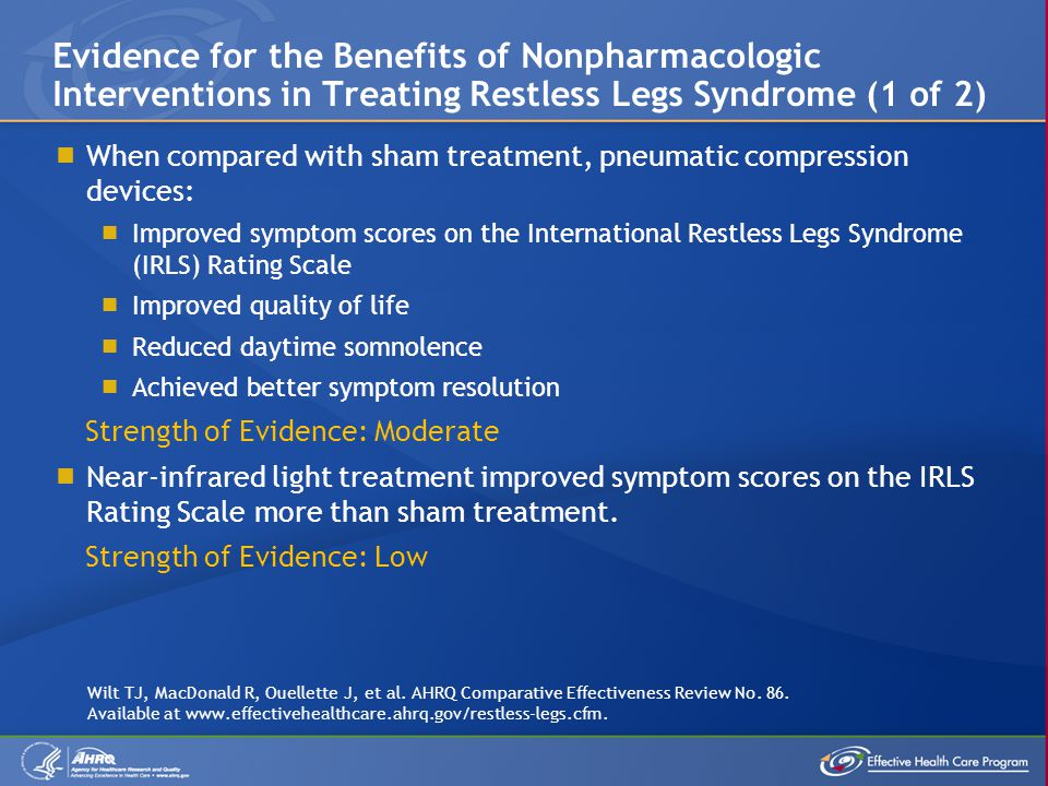 Evidence for the Benefits of Nonpharmacologic Interventions in Treating Restless Legs Syndrome (1 of 2)