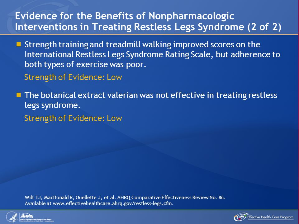 Evidence for the Benefits of Nonpharmacologic Interventions in Treating Restless Legs Syndrome (2 of 2)