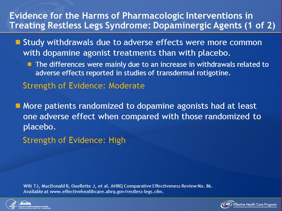 Evidence for the Harms of Pharmacologic Interventions in Treating Restless Legs Syndrome: Dopaminergic Agents (1 of 2)