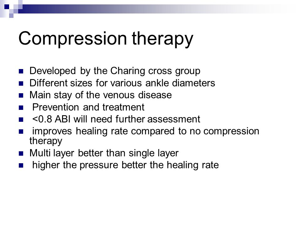 Compression therapy Developed by the Charing cross group