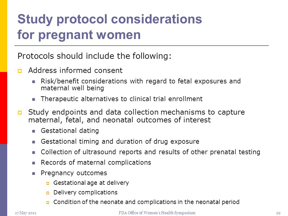Study protocol considerations for pregnant women