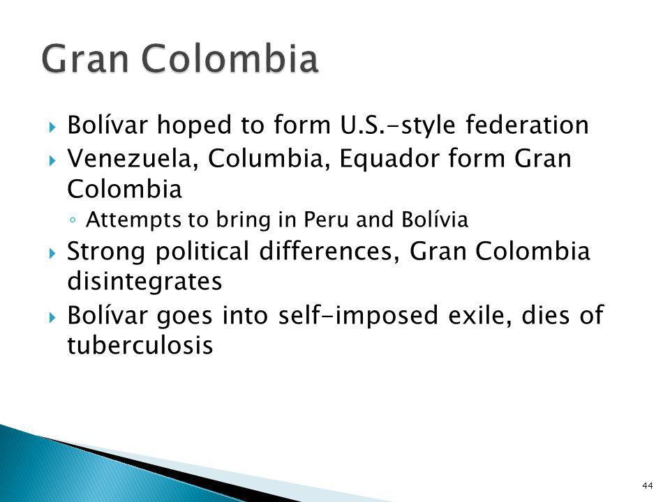 Gran Colombia Bolívar hoped to form U.S.-style federation