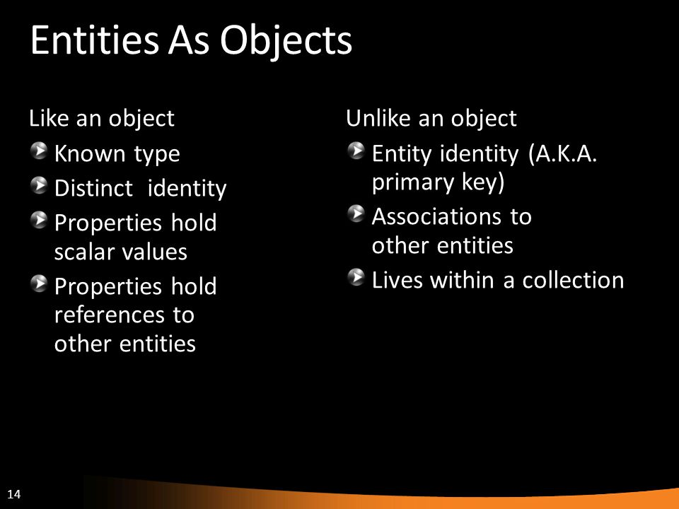 Entities As Objects Like an object Known type Distinct identity