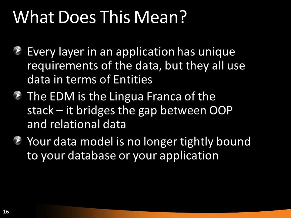 What Does This Mean Every layer in an application has unique requirements of the data, but they all use data in terms of Entities.