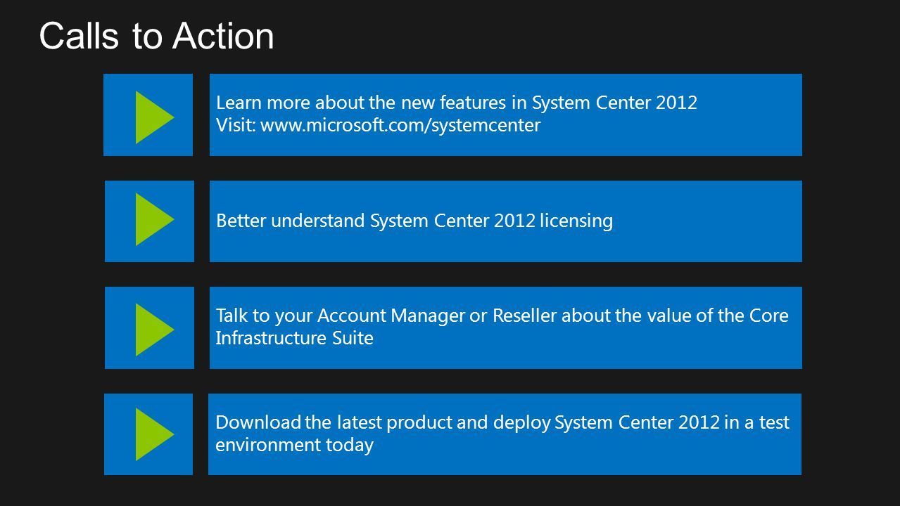 Calls to Action Learn more about the new features in System Center 2012. Visit: www.microsoft.com/systemcenter.