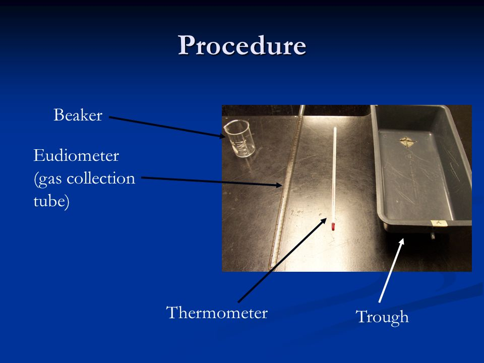 Procedure Beaker Eudiometer (gas collection tube) Thermometer Trough