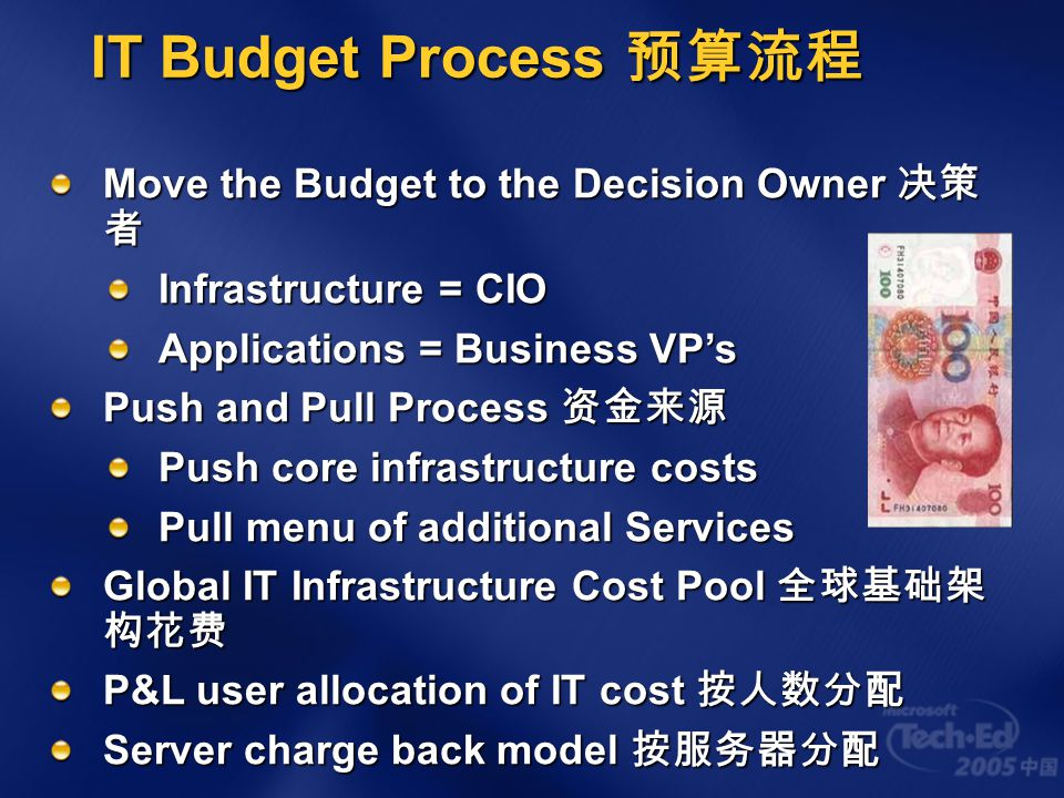 IT Budget Process 预算流程 Move the Budget to the Decision Owner 决策者