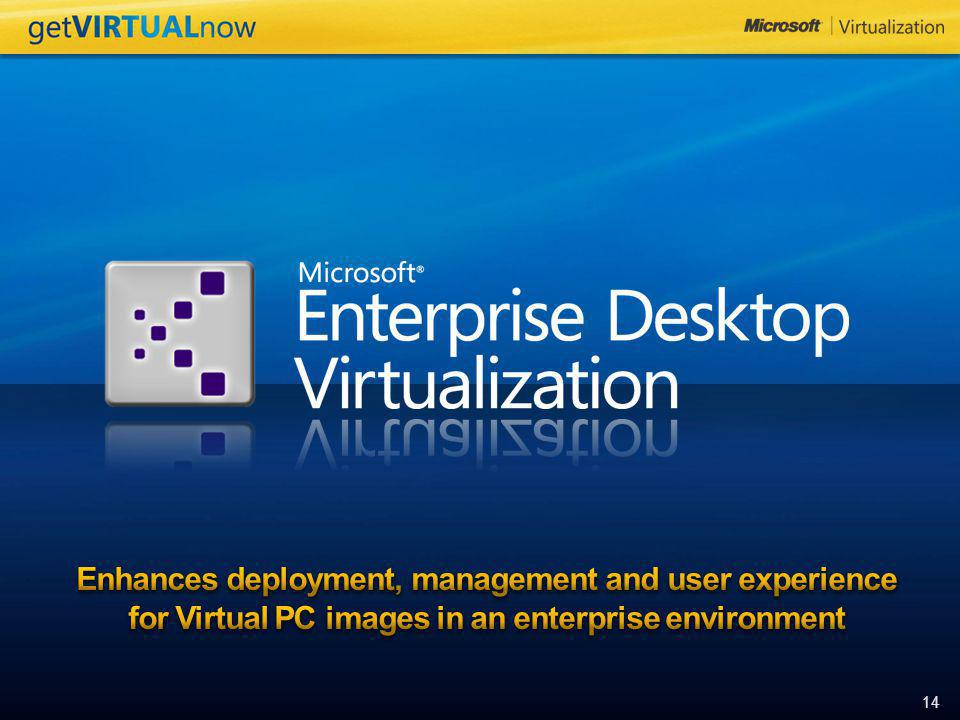 Enhances deployment, management and user experience for Virtual PC images in an enterprise environment
