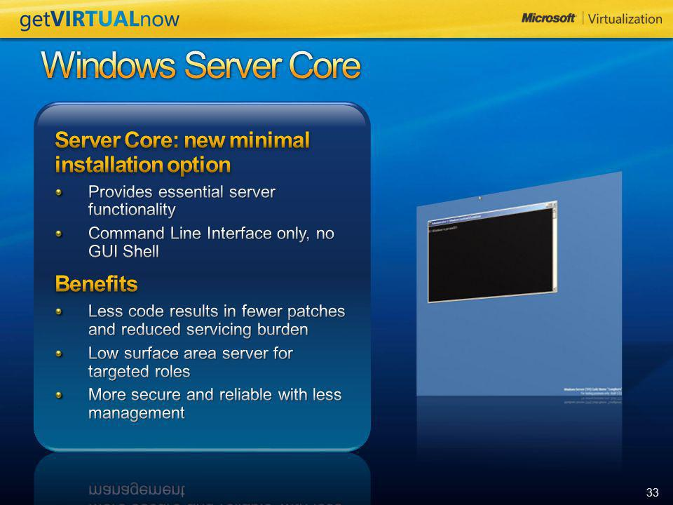 Windows Server Core Server Core: new minimal installation option