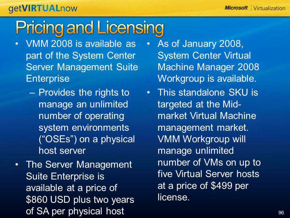 Pricing and Licensing VMM 2008 is available as part of the System Center Server Management Suite Enterprise.