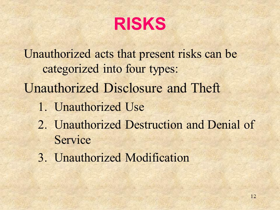 RISKS Unauthorized Disclosure and Theft