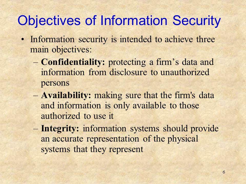 Objectives of Information Security