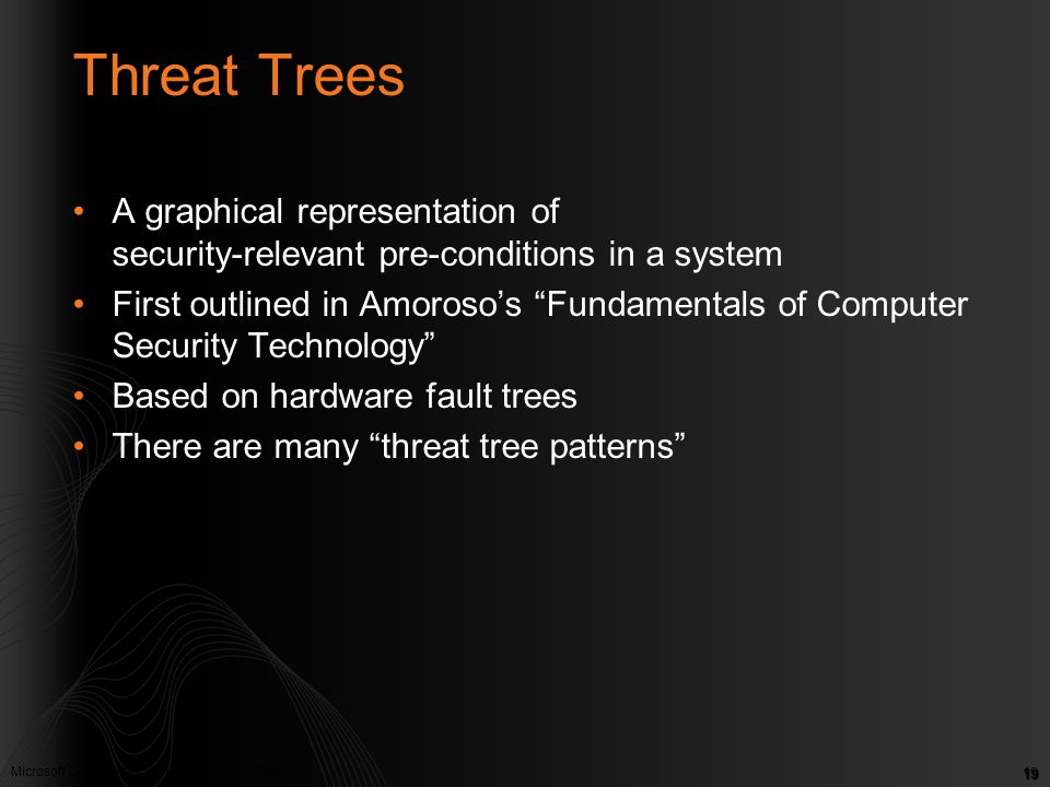 Threat Trees A graphical representation of security-relevant pre-conditions in a system.