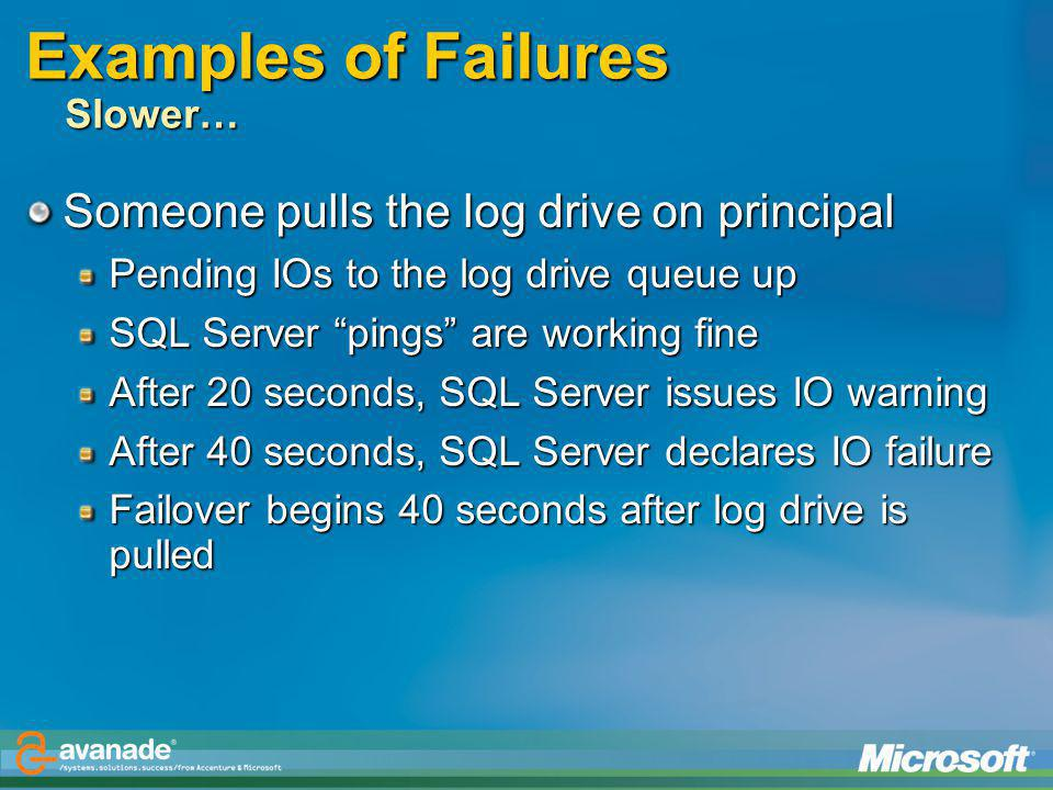 Examples of Failures Slower…