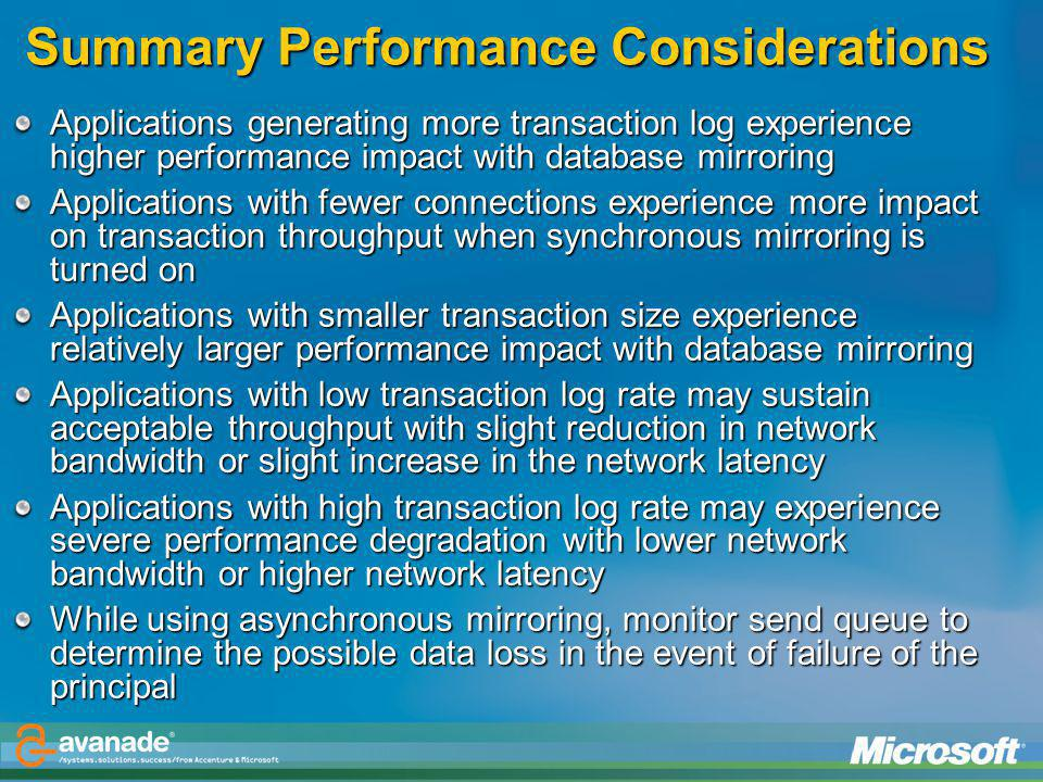 Summary Performance Considerations