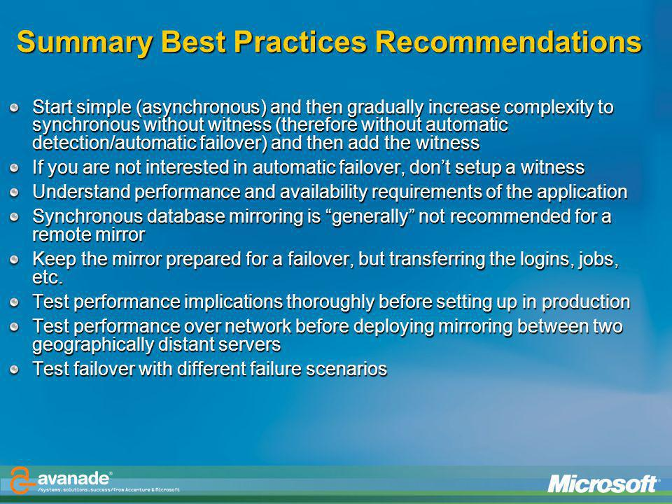 Summary Best Practices Recommendations