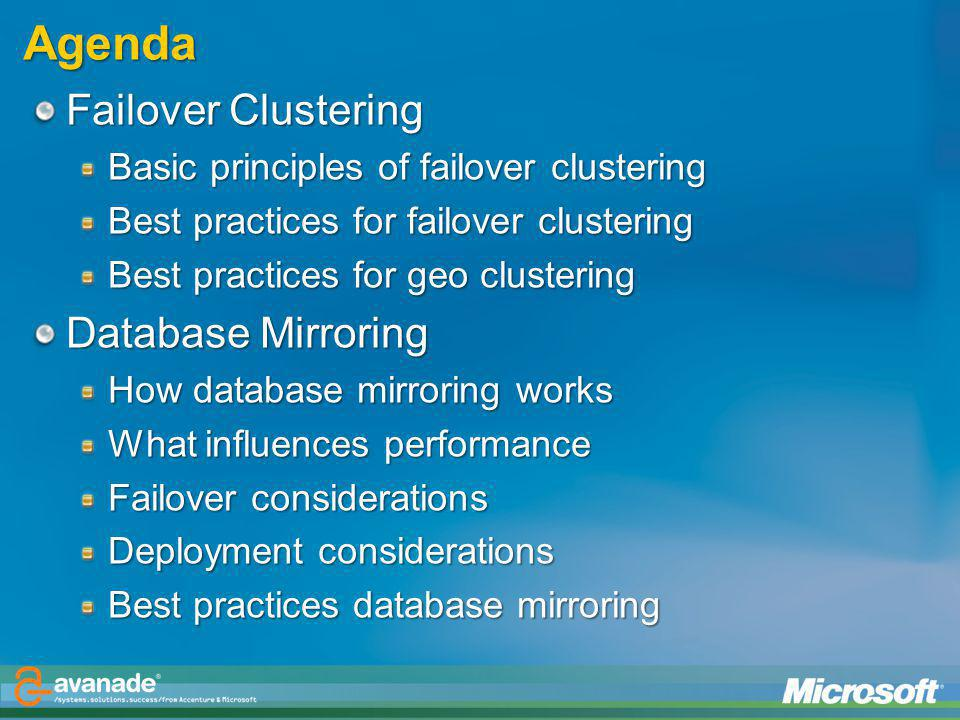 Agenda Failover Clustering Database Mirroring