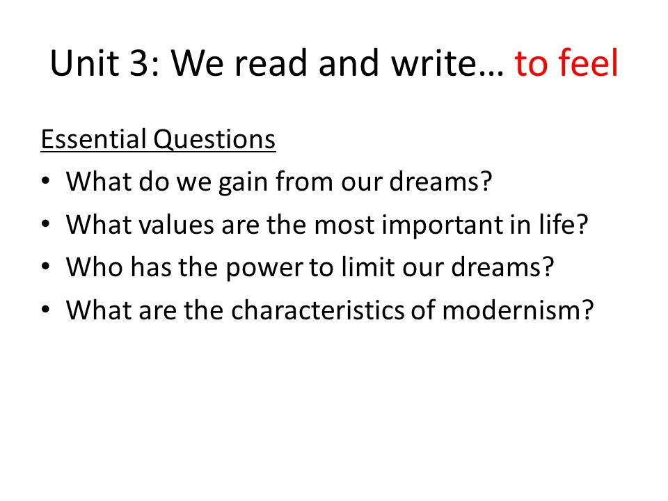 Unit 3: We read and write… to feel