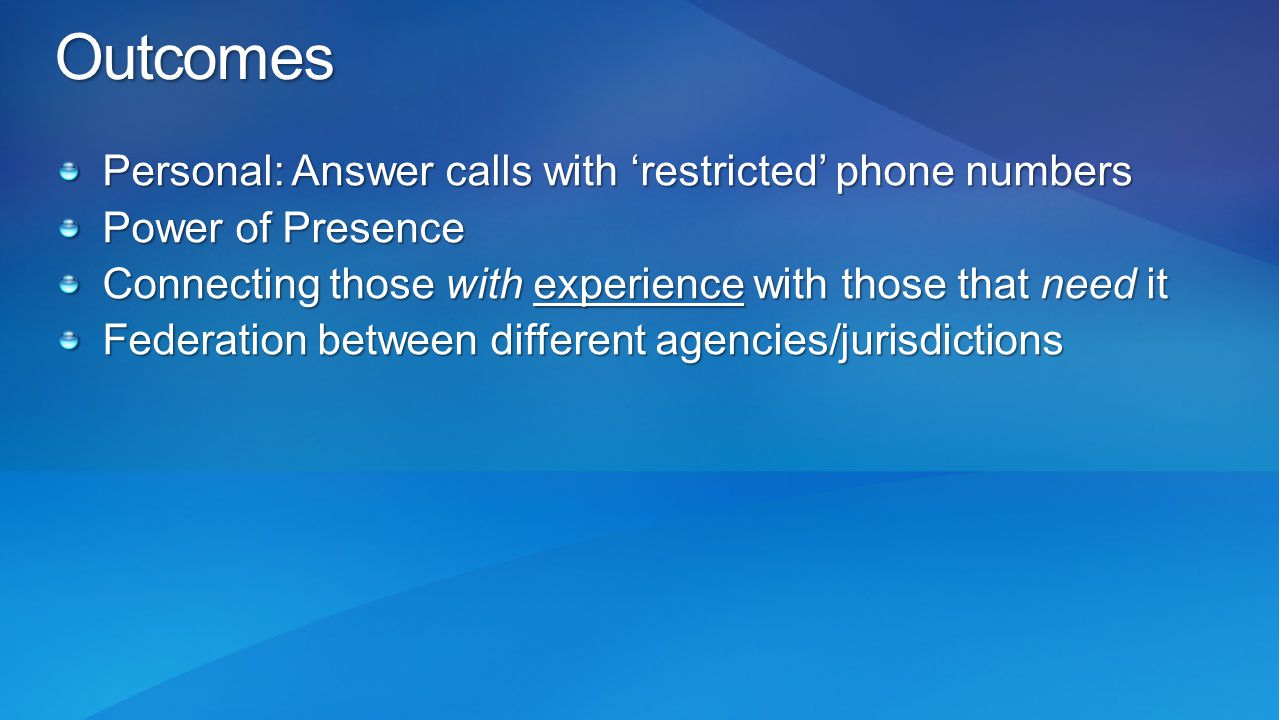 Outcomes Personal: Answer calls with 'restricted' phone numbers