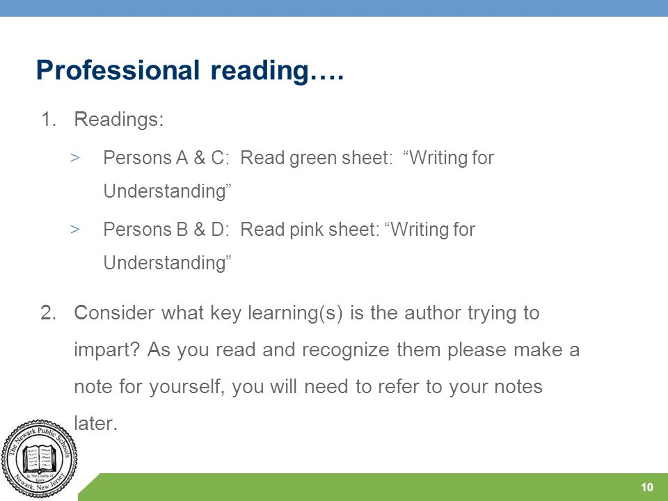 Professional reading….