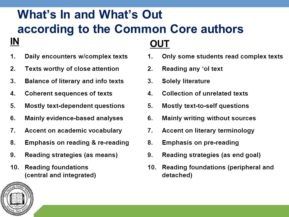 What's In and What's Out according to the Common Core authors