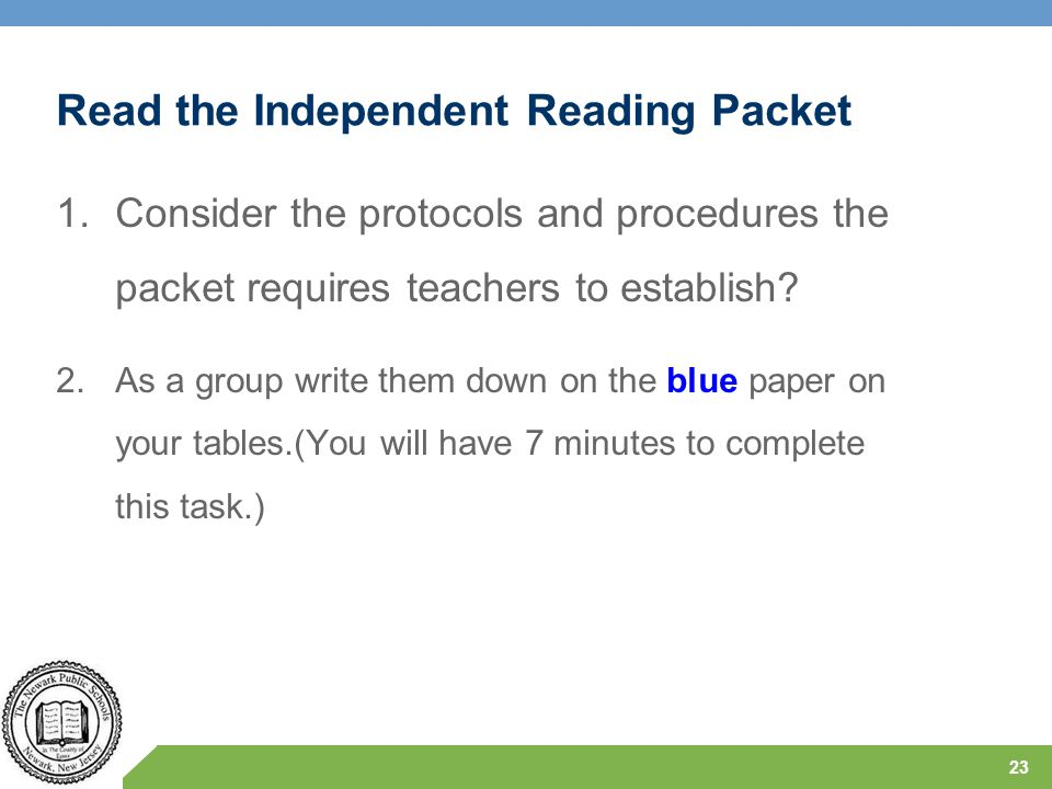 Read the Independent Reading Packet