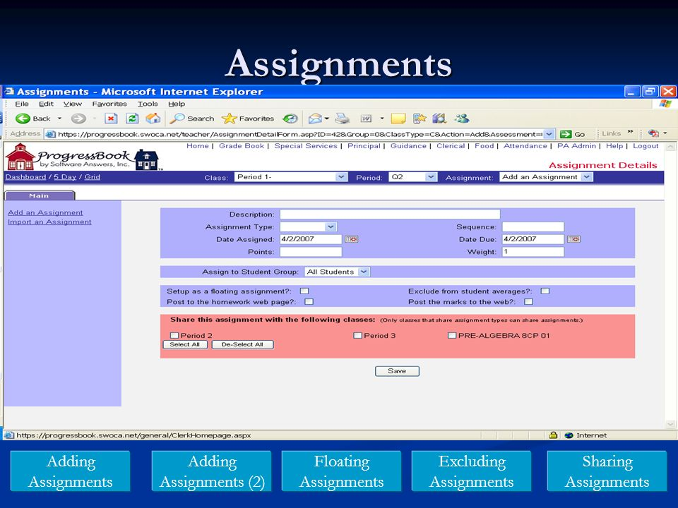 Assignments Adding Assignments Adding Assignments (2) Floating