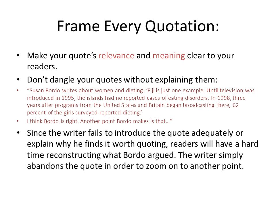 Frame Every Quotation: