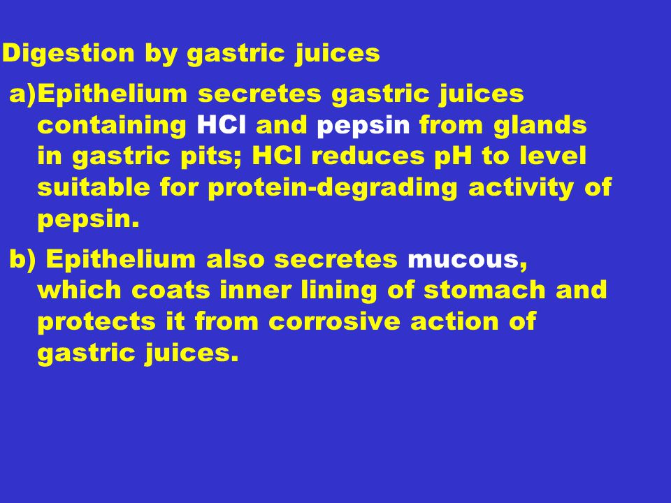 Digestion by gastric juices
