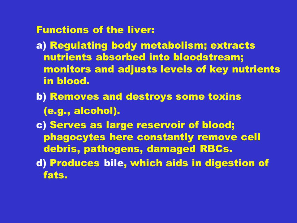 Functions of the liver: